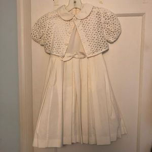White party dress with eyelet jacket